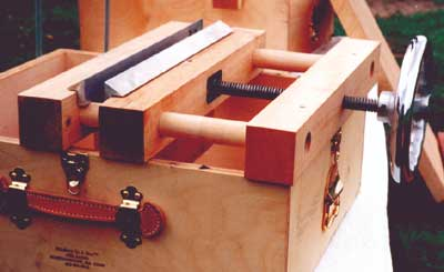 """Bindery in a Box Lying press and plough """"in place""""on the Box"""